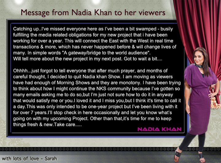 Nadia Khan is fired by Geo TV